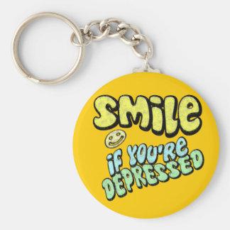 Smile if You're Depressed Basic Round Button Key Ring