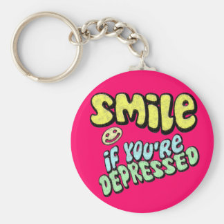 Smile - if you're depressed basic round button key ring