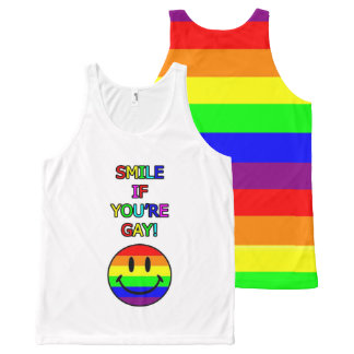 Smile if you're gay rainbow All-Over print tank top