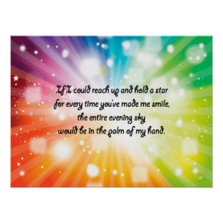Smile Inspirational Happy Quote Star Rainbow Poster