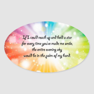 Smile Inspirational Happy Quote Star Rainbow Oval Sticker