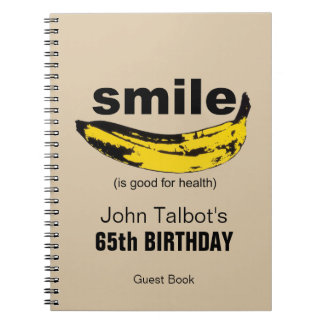 Smile is good for Health  65th Birthday Guest Book Spiral Note Books