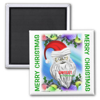 Smile It's Christmas Santa Claus Fridge Magnet