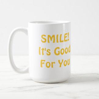 SMILE! It's Good For You. Yellow. Coffee Mug