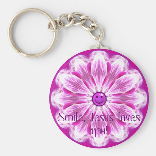 Smile, Jesus loves you! Basic Round Button Key Ring