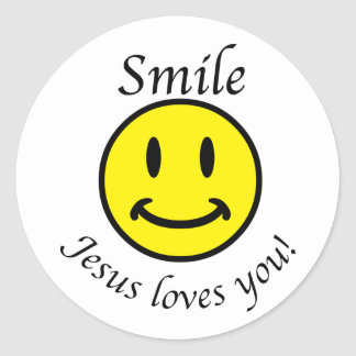 Smile, Jesus loves you Round Sticker