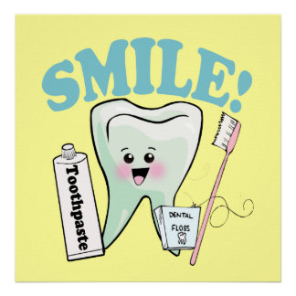 Smile Kawaii Tooth Art Poster