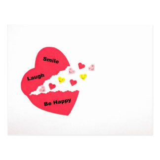 Smile Laugh Be Happy Happy Hearts Postcards