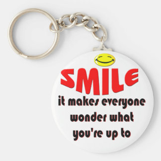 Smile - Make people wonder what your up to Basic Round Button Key Ring