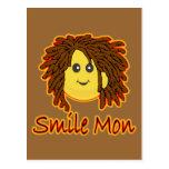 Smile Mon Fire Rasta Smiley Face Post Card