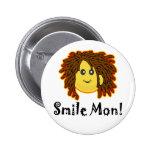 Smile Mon! Rasta Smiley Face Button
