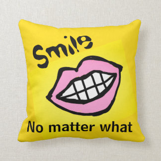 smile no matter what cartoon lips cushion