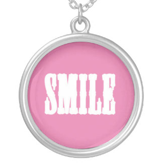 SMILE on a Pink Background Round Pendant Necklace