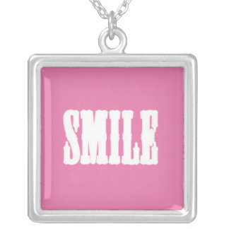 SMILE on a Pink Background Square Pendant Necklace