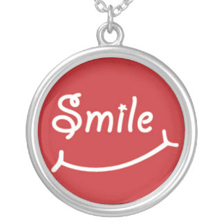 Smile on Red Round Pendant Necklace