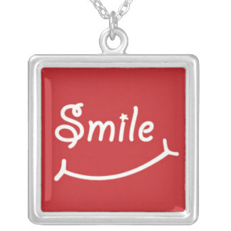 Smile on Red Square Pendant Necklace