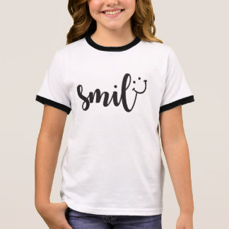 Smile Panda Girl's Ringer T-Shirt