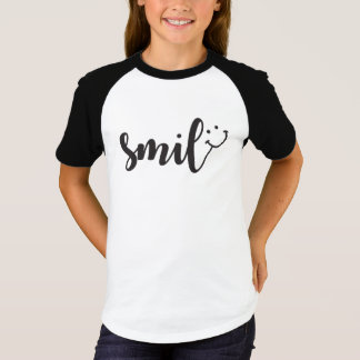 Smile Panda Girls' Short Sleeve Raglan T-Shirt