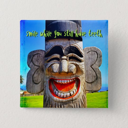 """""""Smile"""" quote funny laughing teeth face photo 15 Cm Square Badge"""