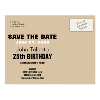 Smile Save the Date 25th Birthday Postcard