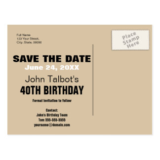 Smile Save the Date 40th Birthday Postcard