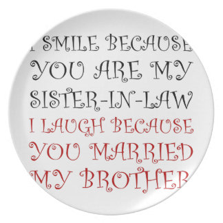 Smile Sister In Law Party Plates