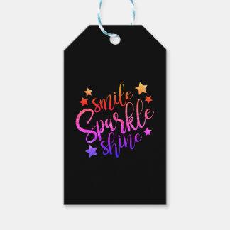 Smile Sparkle Shine Black Multi Coloured Quote Gift Tags