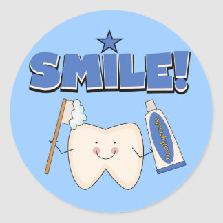 SMILE - Tooth T-shirts and Gifts Classic Round Sticker