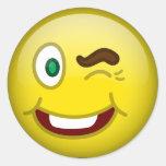 Smile Wink Round Sticker