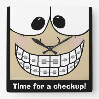 Smile with Braces Square Wall Clock