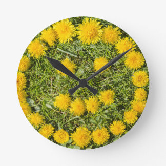 smile with dandelion on grass round clock