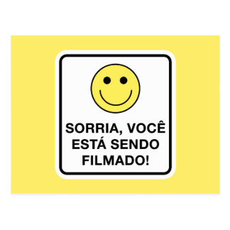 Smile! You're Being Filmed Sign, Brazil Postcard