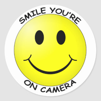 Smile You're On Camera Round Sticker