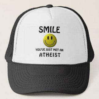 SMILE, you've just met an atheist. Trucker Hat