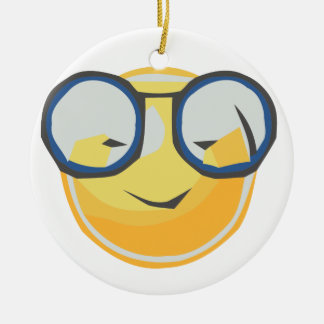 Smiles with glasses christmas ornament