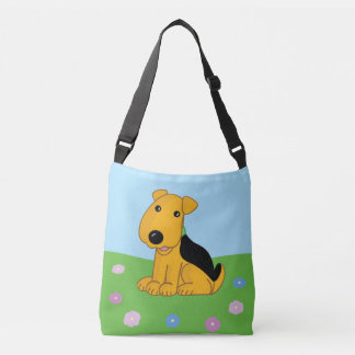 Smiley Airedale Puppy Dog w Flowers Cross Body Bag
