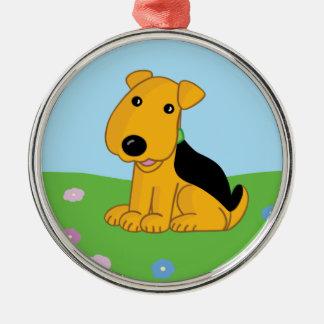Smiley Airedale Puppy in Field Premium Ornament