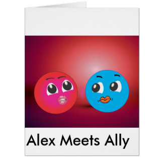 Smiley Alex And Ally In Romantic Mood. Big Greeting Card