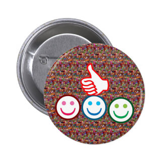 SMILEY and Thumbs UP : HAPPY FACES 6 Cm Round Badge