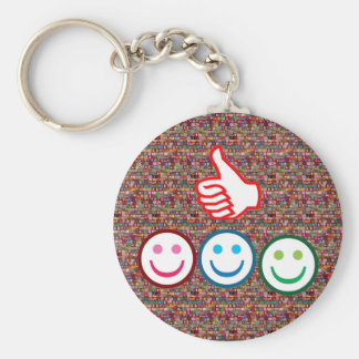 SMILEY and Thumbs UP : HAPPY FACES Basic Round Button Key Ring