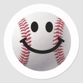 smiley baseball classic round sticker