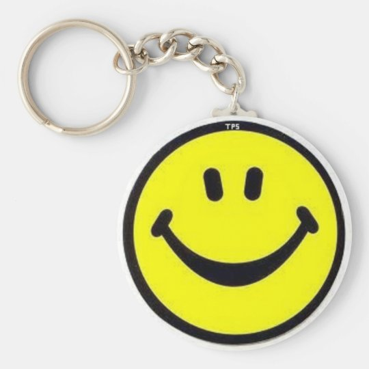 SMILEY BASIC ROUND BUTTON KEY RING