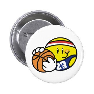 Smiley Basketball 6 Cm Round Badge
