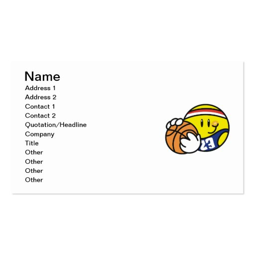 Smiley Basketball Tshirts and Gifts Business Card Template