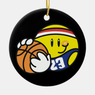 Smiley Basketball Tshirts and Gifts Round Ceramic Decoration