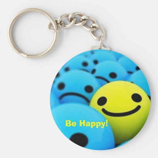 smiley, Be Happy! Basic Round Button Key Ring