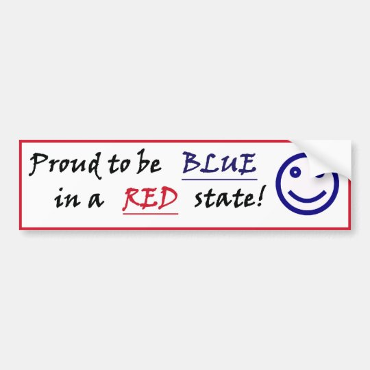 Smiley Blue in a Red State Bumper Sticker