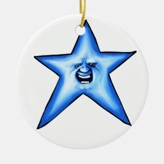 Smiley blue twinkle Star Round Ceramic Decoration