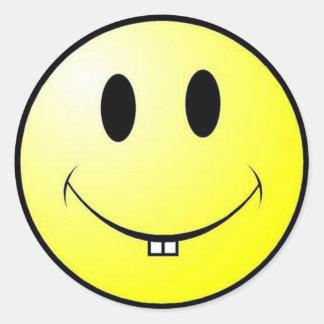 smiley buck tooth round sticker