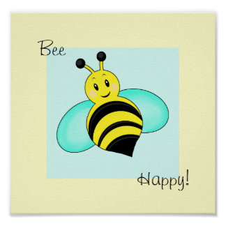 Smiley Bumblebee Bee Happy Print